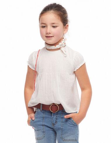 White round neck pin-tuck shirt - Shirts - Nícoli