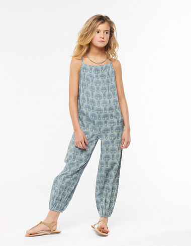 Long blue herringbone dungarees - View all > - Nícoli