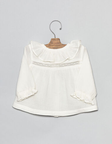 Baby blouse with lace collar detail - View all > - Nícoli