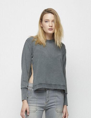 Sweatshirt gris côtelé - Pulls et Sweatshirts - Nícoli