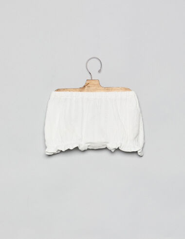 White striped baby bloomers with ruffle - View all > - Nícoli
