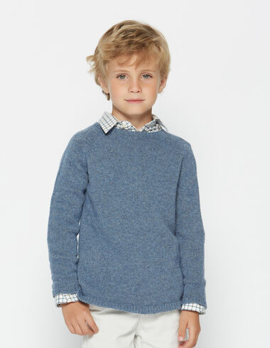 Boy's blue round neck sweater - Pullovers & Sweatshirts - Nícoli