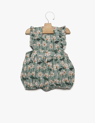 Green floral print ruffle shoulder playsuit - New Flower Print - Nícoli