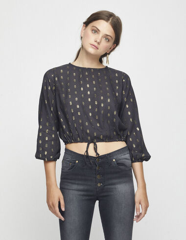Chemise anthracite à pois en lurex - Chemises et Tops - Nícoli