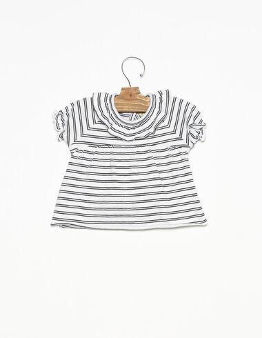 Camiseta cuello volante raya blanca y antracita - Ropa - Nícoli