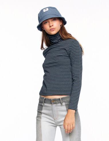T-shirt col roulé rayure anthracite bleu clair - Voir tout > - Nícoli