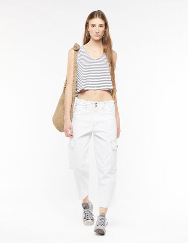 Pantalon cargo droit blanc - New Colour - Nícoli