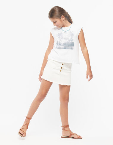 White skirt with buttons - Denim guide - Nícoli