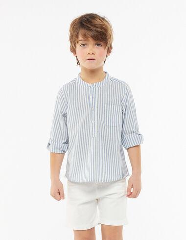 Camisa cuello mao bolsillo rayas azul oscuro - Ver todo > - Nícoli