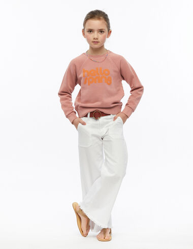 Pantalón ancho bolsillos blanco - Pink & White - Nícoli