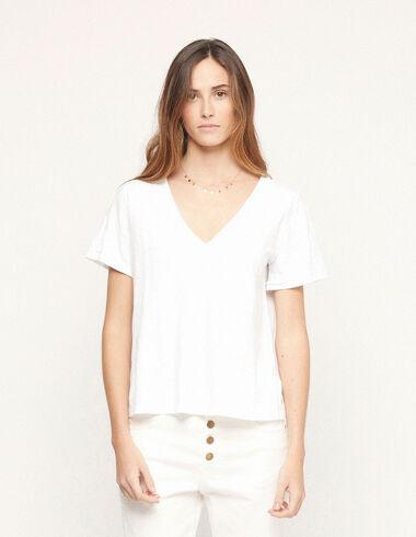 Camiseta cuello pico blanco - Traspasos (se oculta) - Nícoli