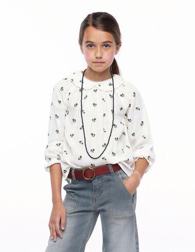 Camisa cuello bebé volantes flores verde - New Flower Print - Nícoli