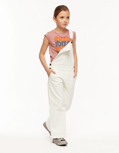 White wide leg dungarees with pocket - The Summer Denim - Nícoli
