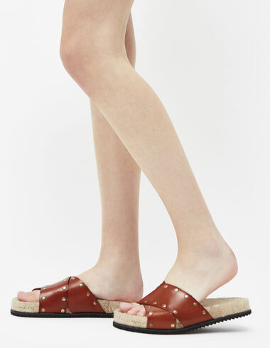 Women's tan stud sandals - Footwears - Nícoli