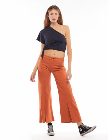 Pantalon évasé ouverture orange - Sister's Time - Nícoli