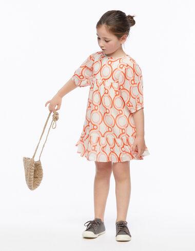 Strawberry geometric print lantern sleeve dress - Geometric Print - Nícoli