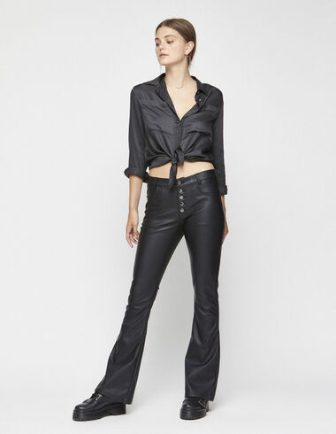 Black leather look flared trousers - View all > - Nícoli