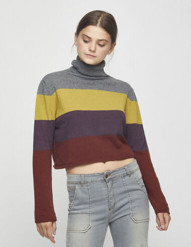 Women´s multicolour striped turtleneck jumper - Jumpers & Sweatshirts - Nícoli