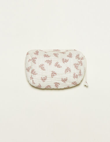 White toiletry bag with pink floral details - View all > - Nícoli