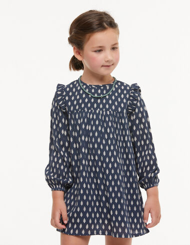 Blue ruffle shoulder dress with white twigs details - View all > - Nícoli