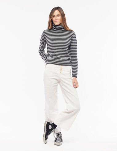 White buttoned trousers with pockets - Clothing - Nícoli