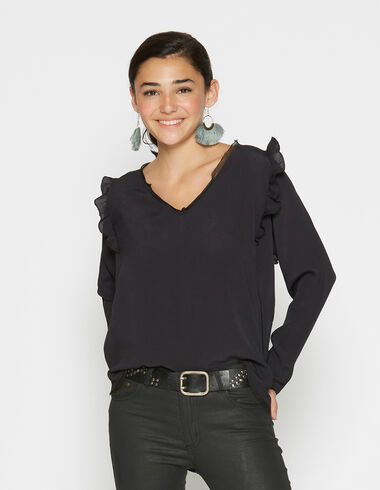 Girl's anthracite shoulder ruffle blouse - View all > - Nícoli