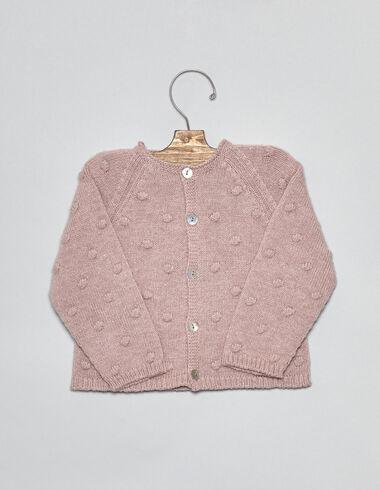 Chaqueta bebé punto bolitas rosa - Chaquetas - Nícoli