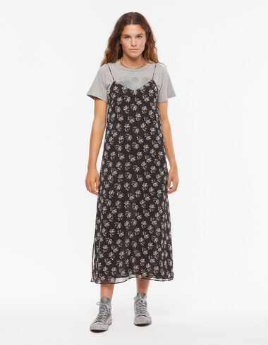Vestido tirantes antracita flor cruda - Ver todo > - Nícoli