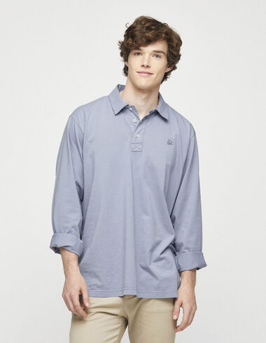 Distressed blue long sleeved polo shirt - View all > - Nícoli