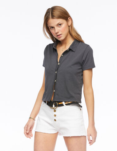Anthracite short-sleeved buttoned t-shirt - View all > - Nícoli