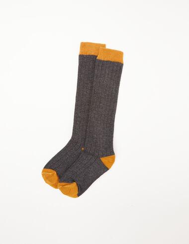 Grey and mustard ribbed socks - Socks - Nícoli