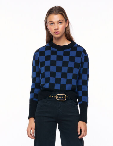Jersey cuadros azul y negro - The Square Print - Nícoli