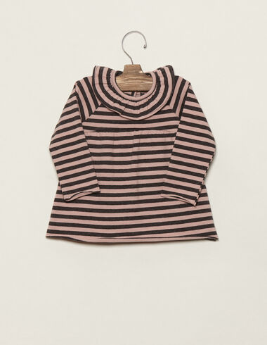 Pink/anthracite striped ruffle neck dress - View all > - Nícoli