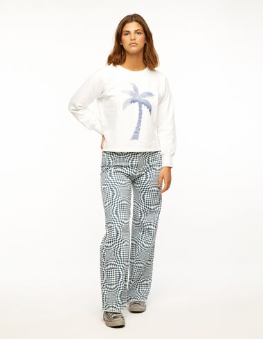 Blue diamond print wide leg trousers - Ropa - Nícoli