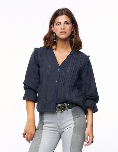 Anthracite lace V-neck shirt - Blouses - Nícoli
