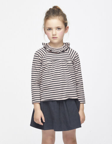 Pink/anthracite striped ruffle top - View all > - Nícoli