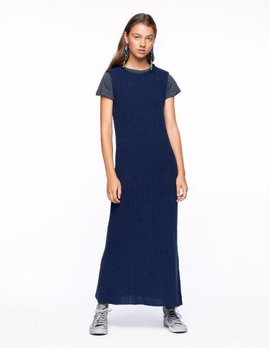 Vestido largo canalé azul - Vestidos - Nícoli