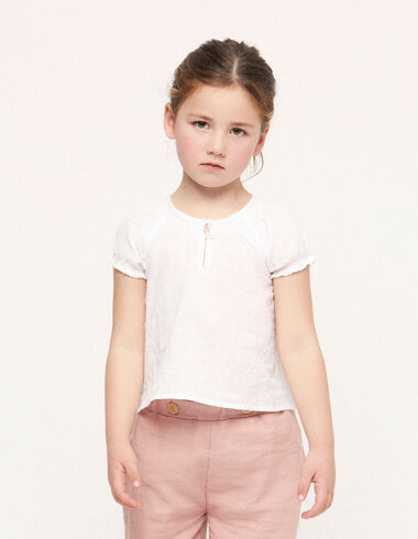 White plumetis shirred collar shirt - View all > - Nícoli
