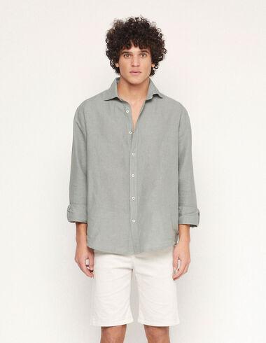 Green linen V-neck shirt - Traspasos (se oculta) - Nícoli