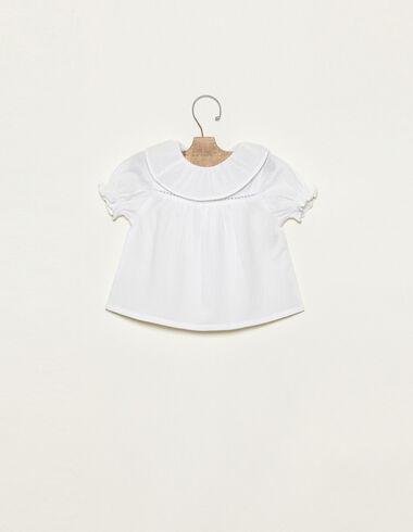 White flat ruffle neck t-shirt - Shirts - Nícoli