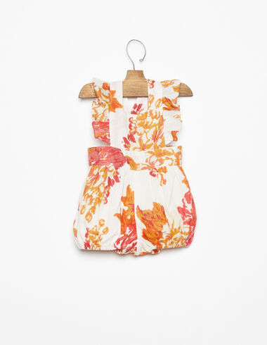 Large orange flower print ruffle shoulder playsuit - View all > - Nícoli