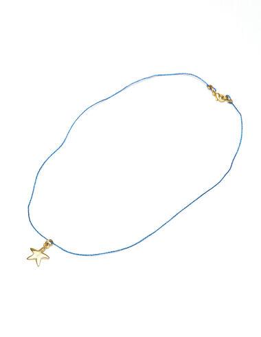 Collar estrella dorada cordón azul brillo - Chica - Nícoli