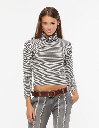 T-shirt col roulé rayure écru et anthracite - Voir tout > - Nícoli