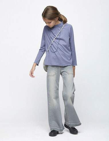 Grey wide leg jeans with pockets - Clothing - Nícoli