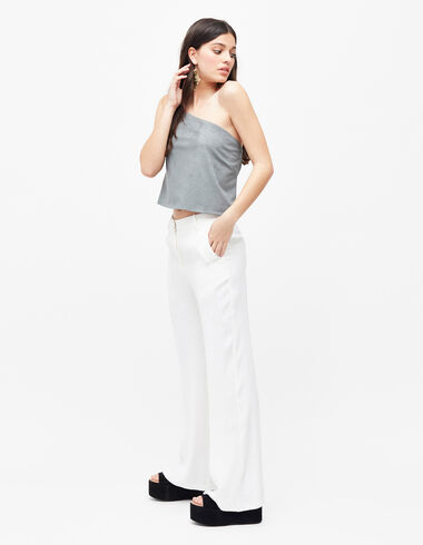 Women's white flared trousers - Pants - Nícoli