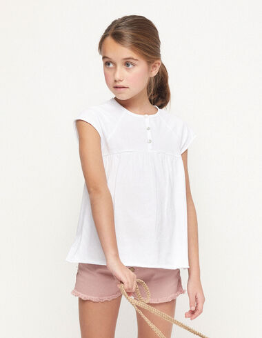 White t-shirt with buttons - View all > - Nícoli