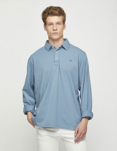 Blue long sleeved polo shirt - Polos - Nícoli