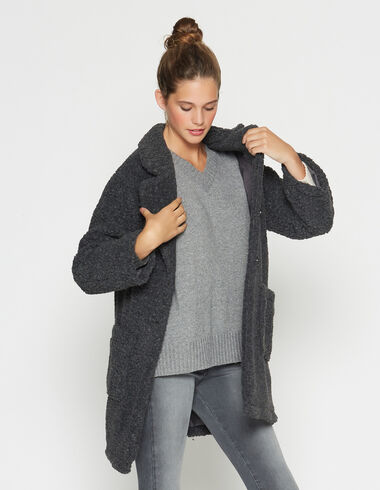 Girl's marengo grey shearling coat - Outwear clothing - Nícoli