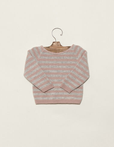 Baby´s grey/pink striped jumper - View all > - Nícoli