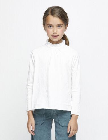 Tee-shirt écru col plissé - Tee-shirts - Nícoli